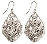 3-Tier Diamond Shimmer Belly Dance Earrings - SILVER