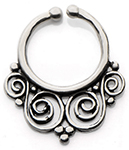 Tribal Infinity Swirls Faux Septum Ring - SILVER