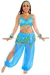 6-Piece Harem Genie Belly Dancer Costume - JASMINE BLUE / GOLD