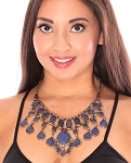 Deluxe Afghani Kuchi Tribal Teardrop Lapis Necklace - BLUE