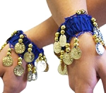 Chiffon Stretch Bracelets with Beads & Coins (PAIR): BLUE / GOLD