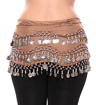 Chiffon Belly Dance Hip Scarf with Beads & Coins - MOCHA / SILVER