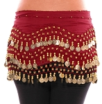 Chiffon Belly Dance Hip Scarf with Beads & Coins - RED ROSE / GOLD