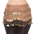 Chiffon Belly Dance Hip Scarf with Beads & Coins - MOCHA / GOLD