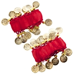 Chiffon Stretch Bracelets with Beads & Coins (PAIR): RED / GOLD
