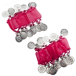 Chiffon Stretch Bracelets with Beads & Coins (PAIR): ROSE PINK / SILVER