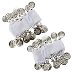 Chiffon Stretch Bracelets with Beads & Coins (PAIR): WHITE / SILVER