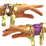 Chiffon Stretch Bracelets with Beads & Coins (PAIR): PURPLE / GOLD