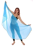 Petite Semi-Circle Chiffon Belly Dance Veil with Sequin Trim - BLUE TURQUOISE / GOLD