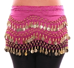 Chiffon Belly Dance Hip Scarf with Beads & Coins - FUCHSIA / GOLD