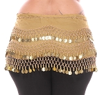 Plus Size 1X - 4X Chiffon Belly Dance Hip Scarf with Coins - GOLDEN / GOLD