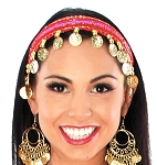 Sequin Belly Dance Costume Headband with Coins - RED / GOLD