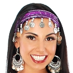 Sequin Belly Dance Costume Headband with Coins - PURPLE / SILVER