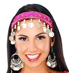 Sequin Belly Dance Costume Headband with Coins - FUCHSIA / SILVER
