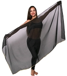 Petite Chiffon Belly Dance Veil with Sequin Trim - BLACK / GOLD