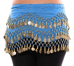 Chiffon Belly Dance Hip Scarf with Beads & Coins - AZURE BLUE / GOLD