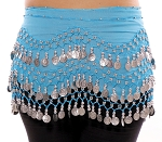 Chiffon Belly Dance Hip Scarf with Beads & Coins - BLUE TURQUOISE / SILVER