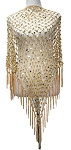 Crochet Net Shawl Scarf with Square Sequins & Fringe - PALE GOLD