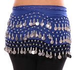 2-Sizes: Chiffon Belly Dance Hip Scarf with Beads & Coins - ROYAL BLUE / SILVER
