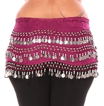 Plus Size 1X - 4X Chiffon Belly Dance Hip Scarf with Coins - FUCHSIA / SILVER