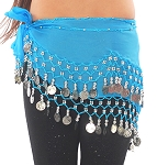 Kids Size Chiffon Hip Scarf with Coins - BLUE TURQUOISE / SILVER