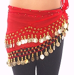 Kids Size Chiffon Hip Scarf with Coins - RED / GOLD