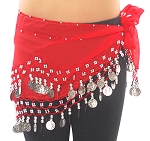 Kids Size Chiffon Hip Scarf with Coins - RED / SILVER