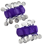 Chiffon Stretch Bracelets with Beads & Coins (PAIR): PURPLE GRAPE / SILVER