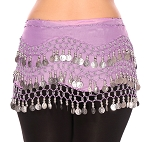 Chiffon Belly Dance Hip Scarf with Beads & Coins - VINTAGE LAVENDER / SILVER