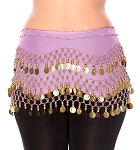 Chiffon Belly Dance Hip Scarf with Beads & Coins - VINTAGE LAVENDER / GOLD