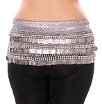 Velvet Deluxe Belly Dance Hip Scarf Belt with Coins - SILVERY GREY / SILVER