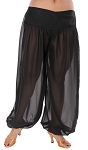 Chiffon Harem Pants with Slits - BLACK