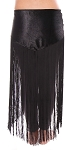 Velvet Tribal Belly Dance Gypsy Hip Scarf Belt with Long Fringe - BLACK