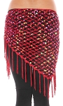 Crochet Net Shawl Scarf with Square Sequins & Fringe - BURGUNDY OPAL