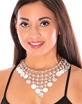 Metal Belly Dance Costume Coin Necklace - SILVER
