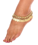 Classic Belly Dance Coin Anklet - GOLD
