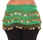 Plus Size 1X - 4X Chiffon Belly Dance Hip Scarf with Coins - GREEN / GOLD