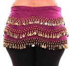 Plus Size Chiffon 1X - 4X Belly Dance Hip Scarf with Coins - FUCHSIA / GOLD