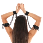Sequin Beaded Double Cuff Slave Bracelet & Armbands (PAIR) - BLACK