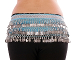 Velvet Deluxe Belly Dance Hip Scarf Belt with Coins - BLUE TURQUOISE / SILVER