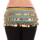 Velvet Deluxe Belly Dance Hip Scarf Belt with Coins - BLUE TURQUOISE / GOLD