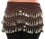 Chiffon Belly Dance Hip Scarf with Beads & Coins - BROWN / SILVER