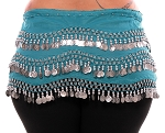 Plus Size 1X - 4X Chiffon Belly Dance Hip Scarf with Coins - TURQUOISE / SILVER