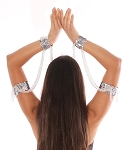 Sequin Beaded Double Cuff Slave Bracelet & Armbands (PAIR) - SILVER