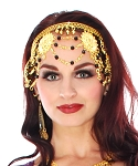 Belly Dance Headband Headpiece with Beads & Swags - GOLD / BLACK