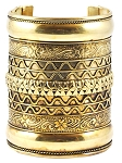 Large Embossed Tribal Cuff Belly Dance Costume Bracelet - GOLD