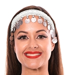 Sequin Belly Dance Costume Headband with Coins - WHITE / SILVER