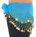 Kids Size Chiffon Hip Scarf with Coins - BLUE TURQUOISE / GOLD