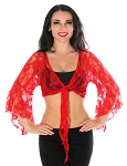 Lace Bolero Choli Top - RED