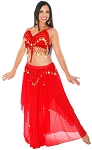 2-Piece Belly Dancer Costume with Coins - RED / GOLD